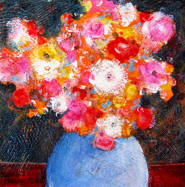 """Flower Play I"", 15""x15"", $160.00, Available from the Artist."